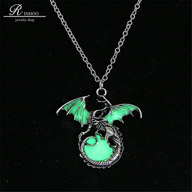 Colar Pingente -Game of Throne -  dragon Retro luminous  Silver Sweater Chain punk