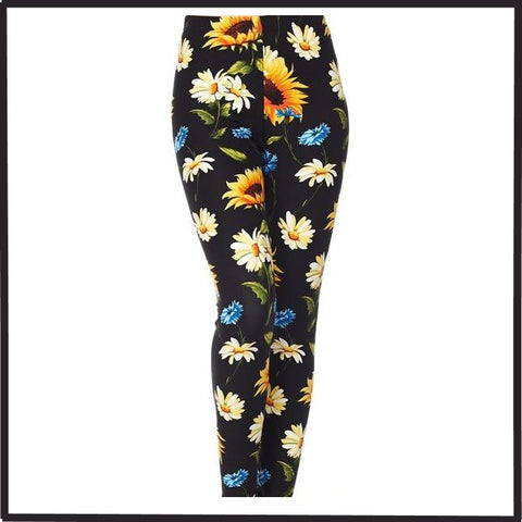 Colorful Floral Sunflower Daisy Double Brushed Leggings