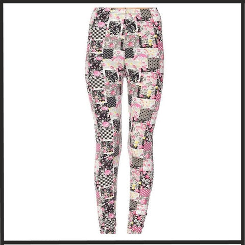 Buttery Soft FLORAL PATCHWORK PRINT ANKLE LENGTH LEGGINGS