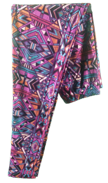 PLUM CRAZY PURPLE GEOMETRIC PATTERN FULL LENGTH LEGGINGS