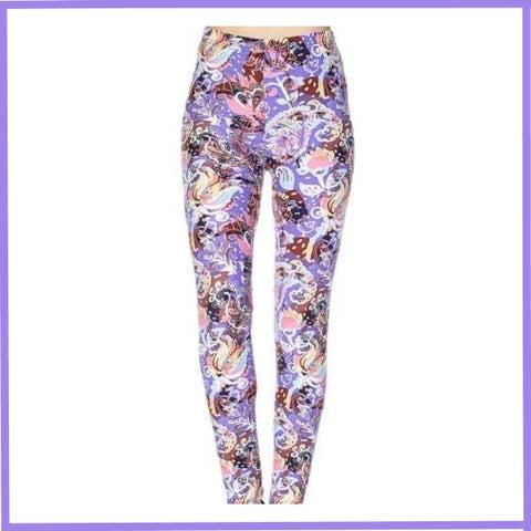 BUTTERY SOFT MULTI PAISLEY PRINT HIGH WAIST ANKLE LENGTH LEGGINGS