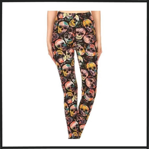 COLORFUL SKULLS PRINT HIGH WAIST KNIT LEGGINGS