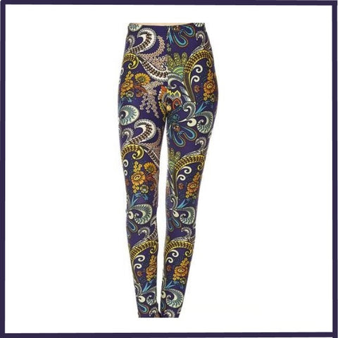 BUTTERY SOFT BLUES PAISLEY PRINT HIGH WAIST ANKLE LEGGINGS