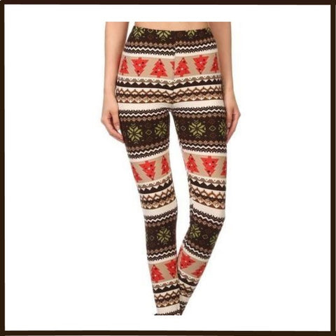 BUTTERY SOFT CHRISTMAS TREES PRINT HIGH WAIST ANKLE LEGGINGS ONE(OS) SIZE
