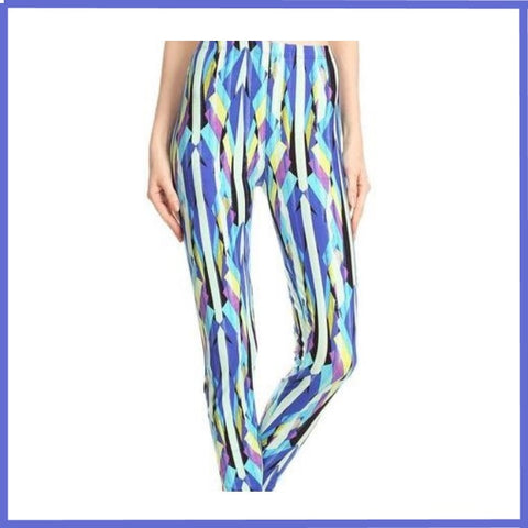 BUTTERY SOFT BLUES PRINTED FULL LENGTH HIGH WAIST LEGGINGS