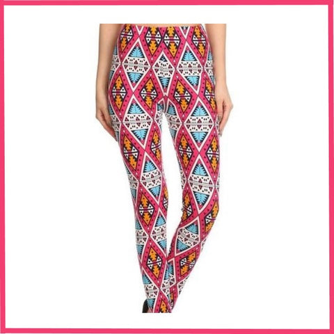 PINK GEOMETRIC PRINT BUTTER SOFT HIGH WAIST LEGGINGS