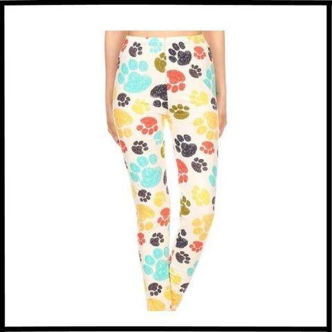 BUTTERY SOFT PUPPY PAWS PRINT HIGH WAIST LEGGING