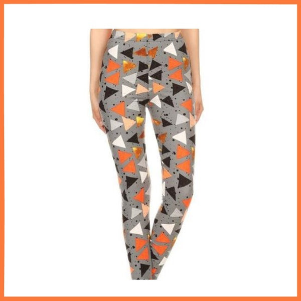 MIXED TRIANGLES PRINT BUTTERY SOFT HIGH WAIST LEGGING