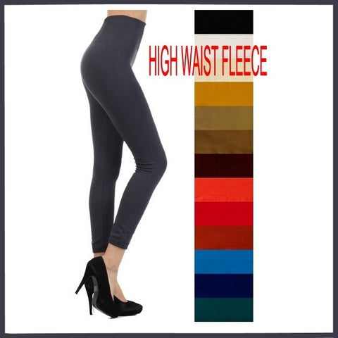 ONE SIZE (OS) SOLID COLORS HIGH WAIST FLEECE LINED LEGGINGS