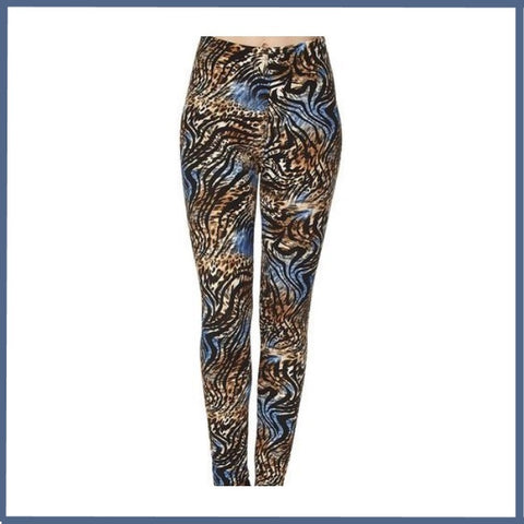 BUTTERY SOFT COLORFUL LEOPARD PRINT HIGH WAIST ANKLE LENGTH LEGGINGS