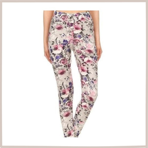 BUTTERY SOFT FLORAL PRINT HIGH WAIST ANKLE LENGTH LEGGINGS