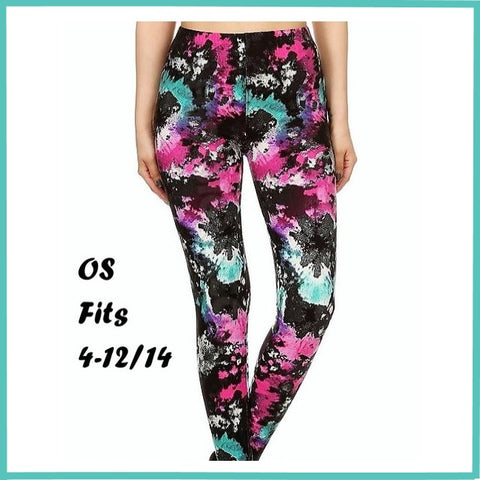 BUTTERY SOFT COLORFUL TIE DIE PRINT HIGH WAIST LEGGINGS