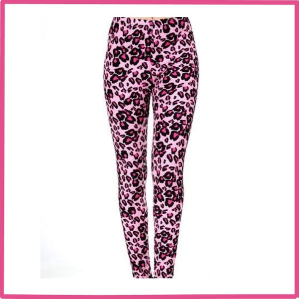 PINK LEOPARD PRINT BUTTERY SOFT ONE SIZE LEGGINGS