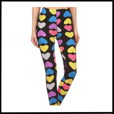 COLORFUL HEARTS PRINT BUTTERY SOFT HIGH WAIST LEGGINGS