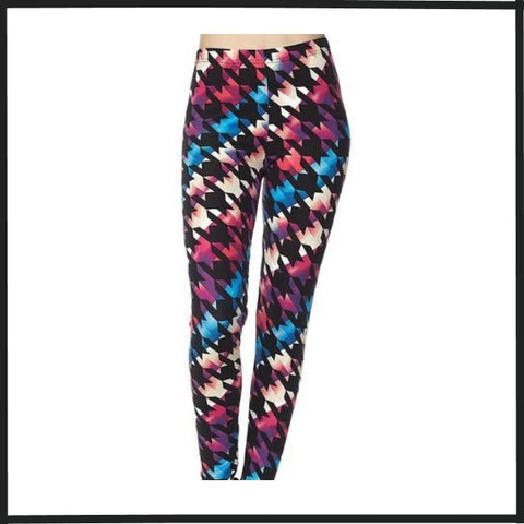 COLORFUL HOUNDSTOOTH PRINT BUTTERY SOFT BRUSHED ANKLE LEGGINGS