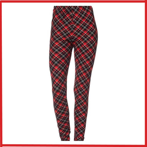 BUTTER SOFT DIAGONAL RED PLAID THEME PRINT ANKLE LENGTH LEGGINGS