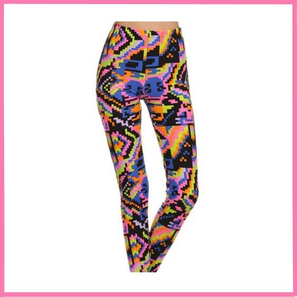 BUTTERY SOFT PIXELATED PRINT ONE SIZE(OS) ANKLE LEGGINGS
