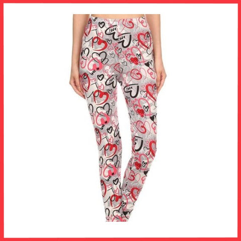 LOVE HEARTS PRINT BUTTERY SOFT BRUSHED ANKLE LENGTH LEGGINGS