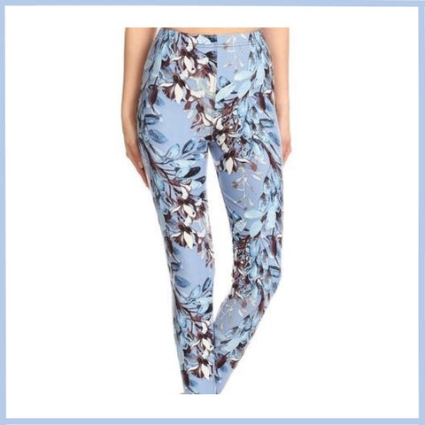 BUTTERY SOFT FLORAL PRINT HIGH WAIST ANKLE LENGTH LEGGINGS PLUS(P) SIZE
