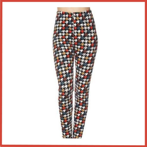 BUTTERY SOFT BRUSHED CHECKERBOARD PRINT HIGH WAIST LEGGINGS