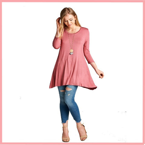 3/4 Sleeve 95/5 Rayon/Spandex Solid Tunic Top