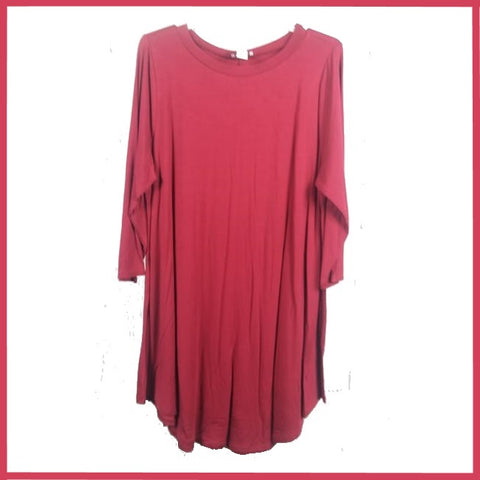 PLUS SIZES Modal A-Line Rounded Hem 3/4 Sleeve Tunic Top