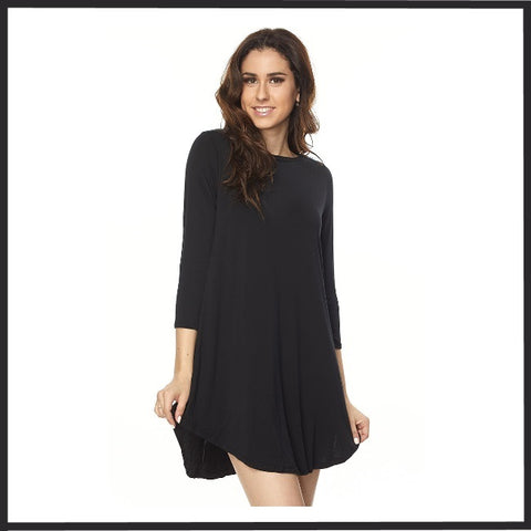 Modal A-Line Rounded Hem 3/4 Sleeve Tunic Top