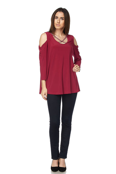 Solid 3/4 Sleeve Cold Shoulder Tunic Top with Criss Cross Neck