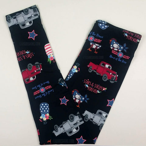 PATRIOTIC AMERICANA TRUCKS LIMITED CUSTOM DESIGN YOGA BAND LEGGINGS