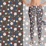 CHICAGO CUBS THEME CUSTOM DESIGN LEGGINGS