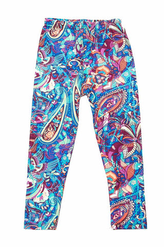 PAISLEY MULTI COLOR PRINT BUTTERY SOFT BRUSHED ANKLE LEGGINGS KIDS SIZE(K)