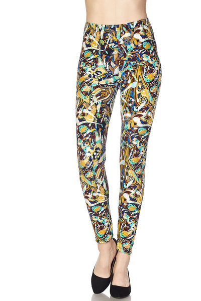 MULTI COLOR PAISLEY PRINT BUTTERY SOFT BRUSHED ANKLE LEGGINGS