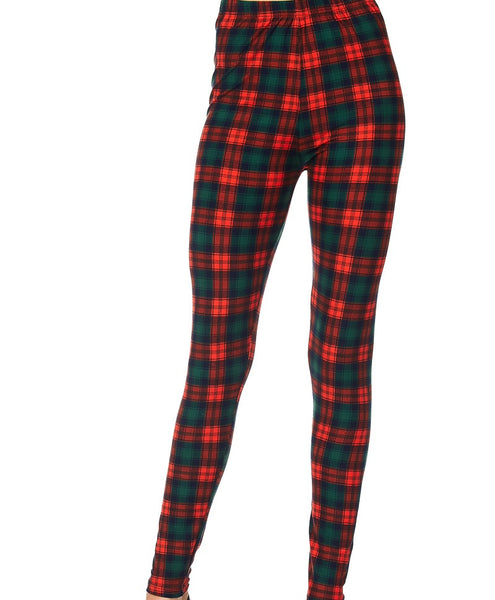 RED PLAID CHRISTMAS THEME PRINT BRUSHED ANKLE LENGTH LEGGINGS
