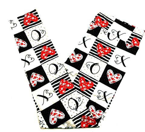 PATCHWORK LOVE HEARTS ~ CUSTOM DESIGN YOGA BAND LEGGINGS