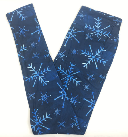 ICE BLUE SNOWFLAKES CUSTOM YOGA BAND LEGGINGS