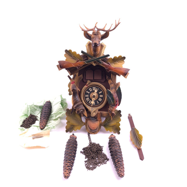 Albert Schwab 1 Day Cuckoo Clock Hunter Deer 42R Made in Germany in original box