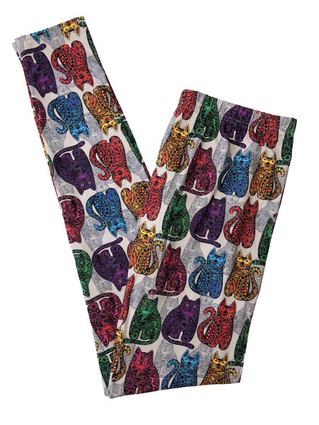 COLORFUL CATS - CUSTOM DESIGN KITTY CAT THEME LEGGINGS