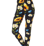 Colorful Floral Sunflower Daisy Double Brushed Ankle Leggings