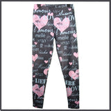 """LOVE IN ALL LANGUAGES"" Limited Edition Custom Design Yoga Band Leggings"