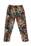 MULTI COLOR PAISLEY PRINT BUTTERY SOFT BRUSHED ANKLE LEGGINGS KIDS SIZE (K)