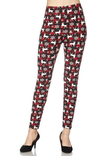 Butter Soft Christmas REINDEER & SNOWFLAKES Theme Leggings