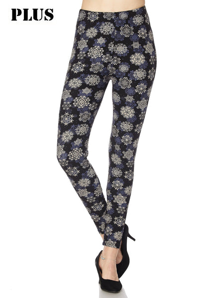 Winter Holiday Season Buttery Soft Brushed Snowflakes Print Ankle Leggings Plus (P) Size