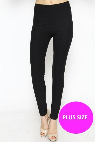 PLUS SIZE HIGH WAIST DESIGNER WAISTBAND FLEECE LINED ANKLE LEGGINGS IN SOLID COLORS