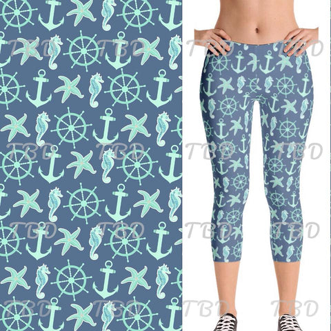 AHOY MATEY - YOGA WAIST BAND CAPRI LENGTH CUSTOM LEGGINGS