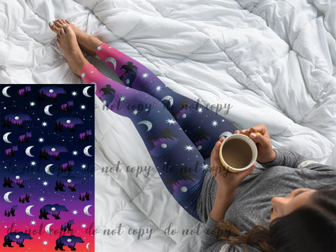 NIGHT SKY BEARS - CUSTOM DESIGN YOGA BAND LEGGINGS
