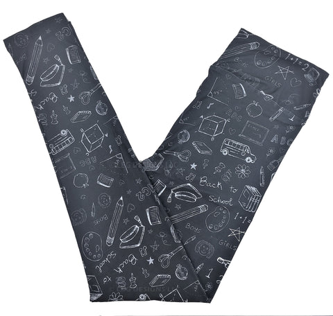 BACK TO SCHOOL CHALKBOARD - CUSTOM DESIGN YOGA BAND LEGGINGS