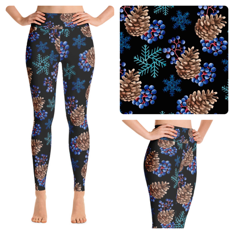 BLUE CHRISTMAS WINTER CUSTOM DESIGN YOGA BAND LEGGINGS