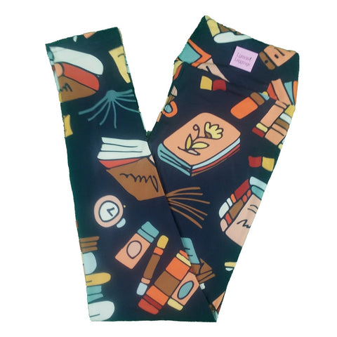 Custom Buttery Soft Books Print Yoga Waist Band Leggings