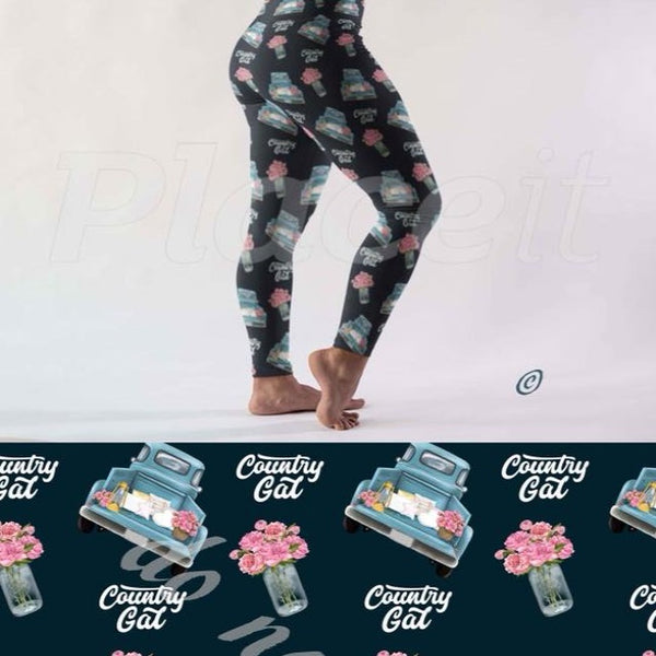 COUNTRY GAL - Custom Design Yoga Band Leggings