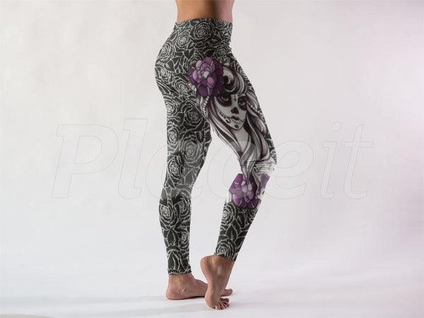 DEAD DIVA N BLACK ROSES ZOMBIE THEME CUSTOM YOGA BAND LEGGINGS